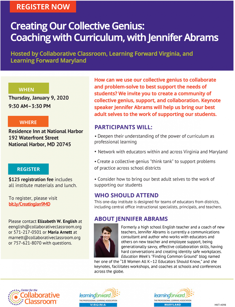 CREATING OUR COLLECTIVE GENIUS: COACHING WITH CURRICULUM, WITH JENNIFER ABRAMS January 9, 2020